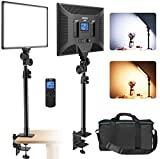 IVISII LED Video Light with C-Clamp Stand, Dimmable Bi-Color 3000K-8000K Panel Light with Wireless...