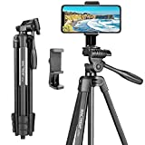MACTREM 53 Inch Tripod for iPhone, Lightweight Aluminum Travel Cell Phone/Ipad/Camera Tripod Stand...