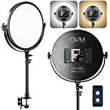GVM Desk Mount LED Video Light, 10'' Round Key Light with Built-in Diffuser and LCD Display,...
