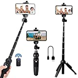 Portable 40 Inch Aluminum Alloy Selfie Stick Phone Tripod with Wireless Remote Shutter Compatible...