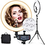 """18"""" Selfie Ring Light with 73"""" Extendable Tripod Stand & Flexible Phone Holder, 55W Dimmable LED..."""