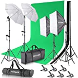 Neewer 2.6M x 3M/8.5ft x 10ft Background Support System and 800W 5500K Umbrellas Softbox Continuous...