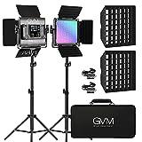 GVM 2 Pack LED Video Lighting Kits with APP Control, Bi-Color Variable 2300K~6800K with Digital...