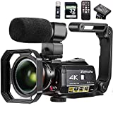 Video Camera 4K Camcorder ZOHULU WiFi Ultra HD Vlog Camera for YouTube, 3.1'' IPS Screen 30X Digital...