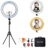 """18 Inch Ring Light with 79"""" Tripod Stand,Mountdog Dimmable LED Ring Light with Rotatable Phone..."""