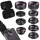 iPhone Lens Kit, Phone Camera Lens 9 in 1 Zoom Telephoto Lens+198° Fisheye +0.35X Super Wide-Angle...