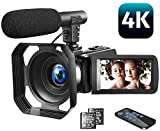 Video Camera 4K Camcorder Vlogging Camera with Microphone YouTube Camera Recorder Ultra HD 30MP 3.0'...