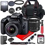 Canon EOS 4000D DSLR Camera w/Canon EF-S 18-55mm F/3.5-5.6 III Zoom Lens + Case + 32GB SD Card (15pc...