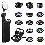 Godefa Phone Camera Lens Kit, 14 in 1 Lenses with Selfie Ring Light for iPhone 12, 11, Xs, Xr,8 7 6s...