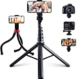 Phone Tripods, 2 Pack of 62'' Extendable Selfie Stick and Octopus Phone Tripod, Fast and Stable...