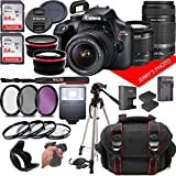 Canon EOS Rebel T100 DSLR Camera w/Canon EF-S 18-55mm F/3.5-5.6 + EF 55-250mm F/4-5.6 is Zoom Lenses...