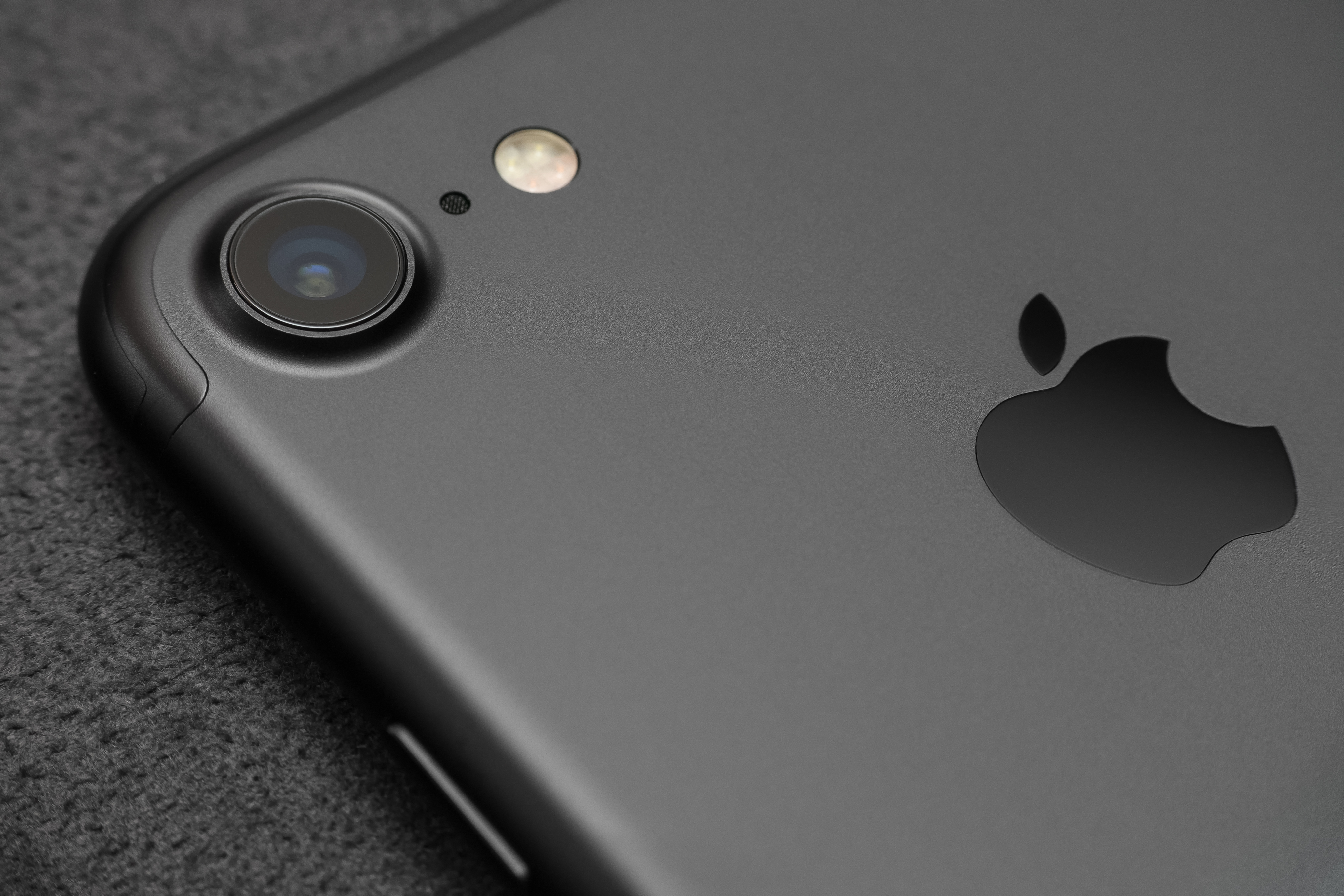 Close up camera lens view iPhone 7 black color