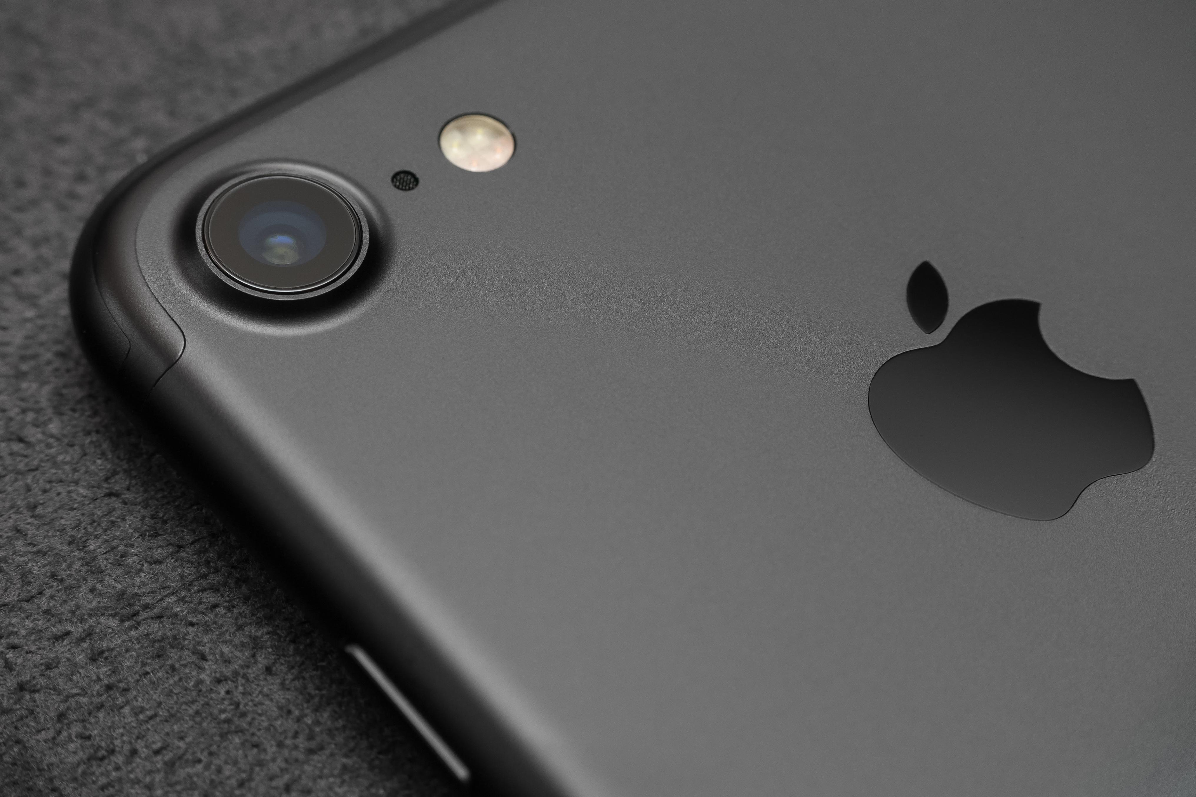 Close up camera lens view iPhone 7 black color