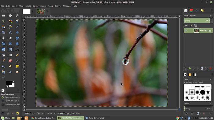 GIMP photo editing tool on desktop view. - DPI of iPhone photo