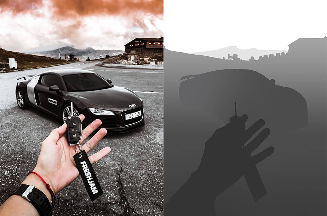 side-by-side normal photo and depth map of a black car and its keys - 3d pictures iPhone