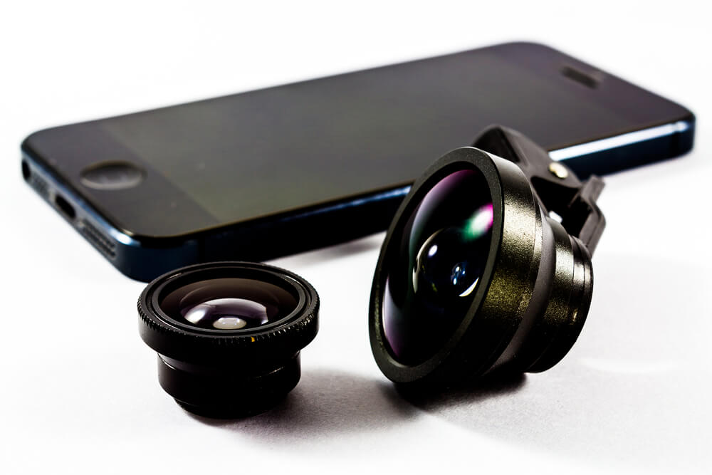 iPhone and two clip-on lenses.