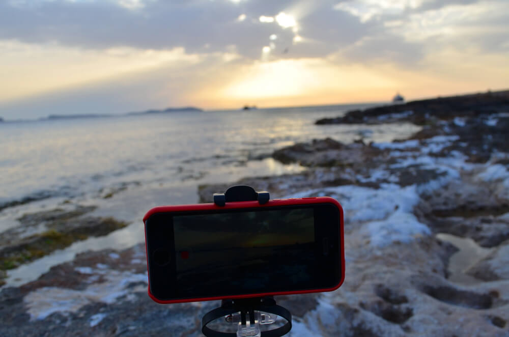 iPhone mounted on a tripod.