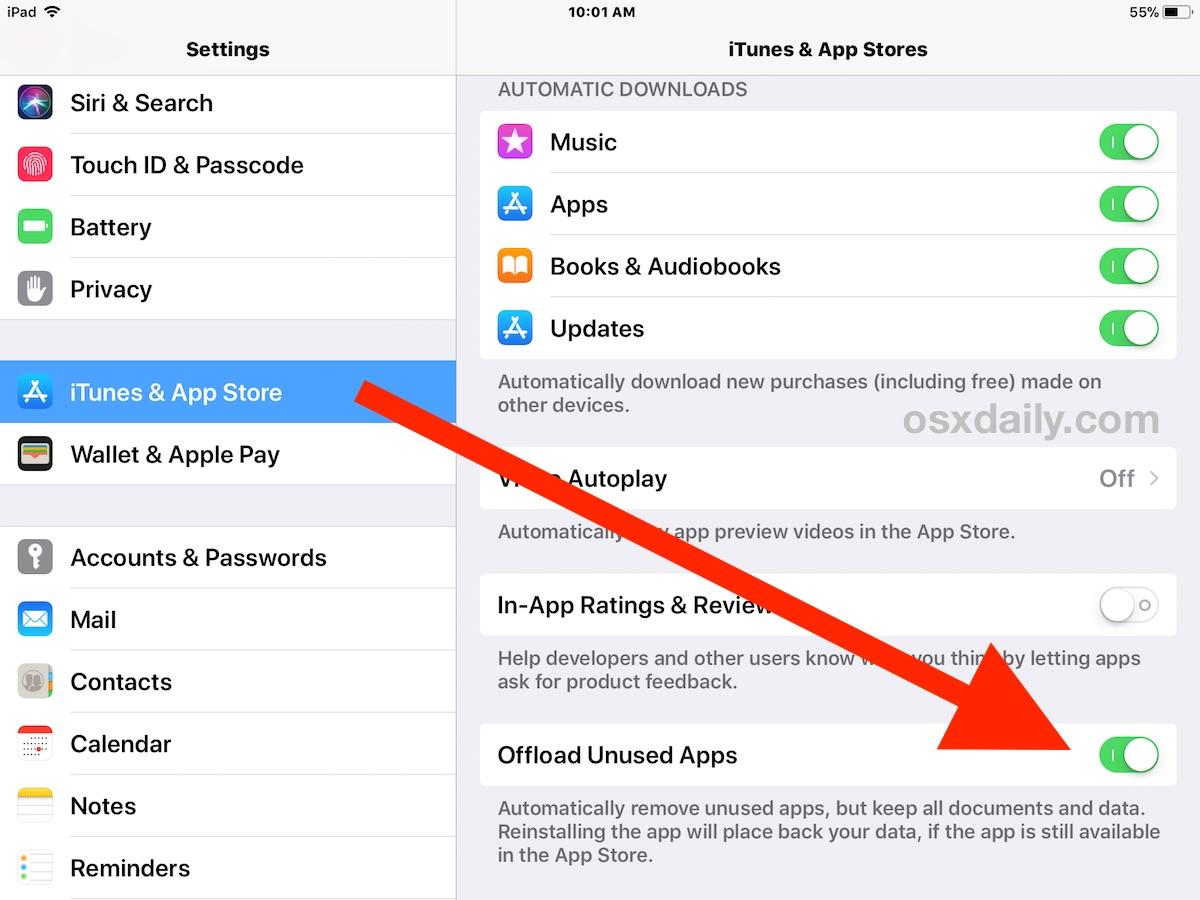 Offload Unused Apps setting.