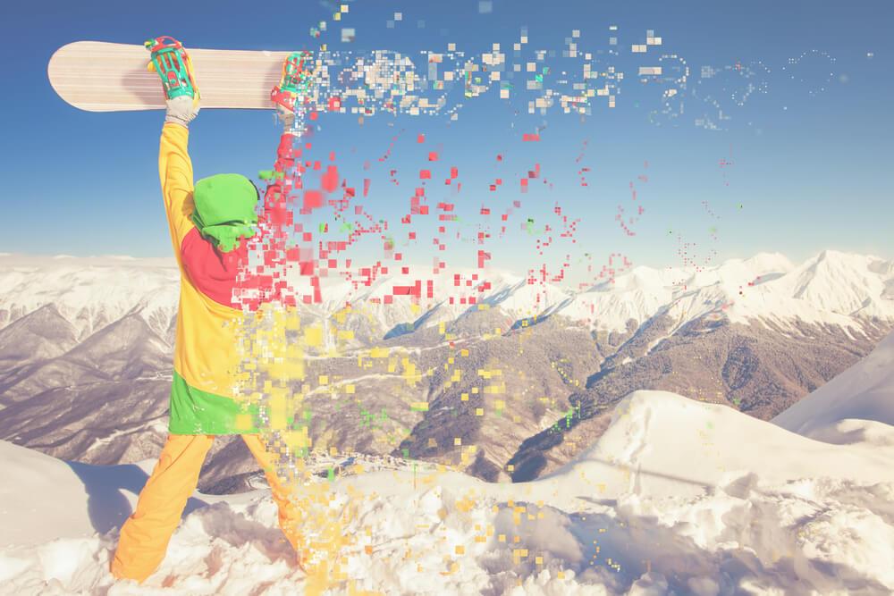 pixelated athlete on snow mountain