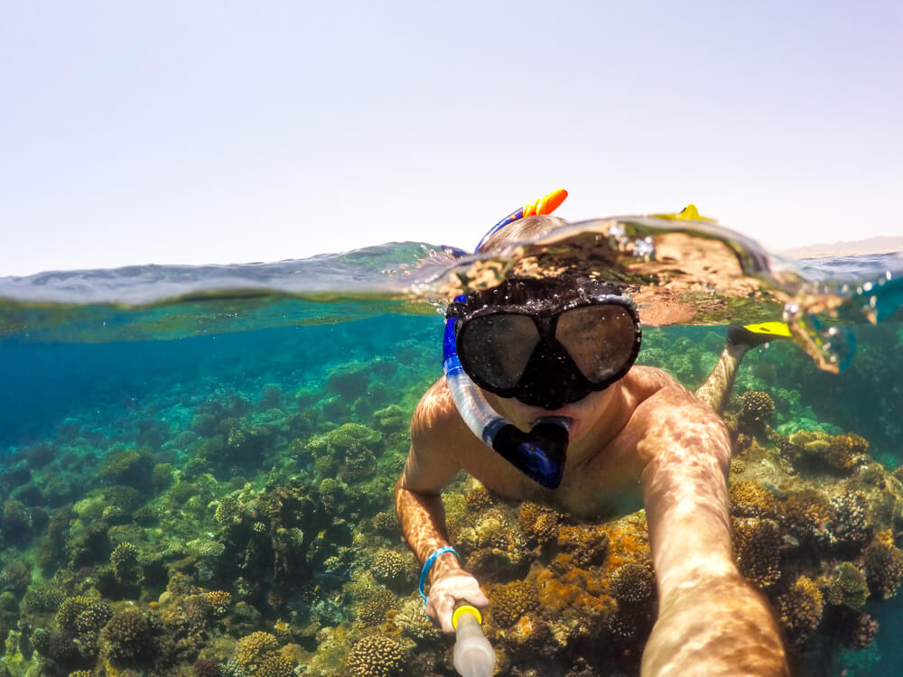 selfie of a diver wearing goggles