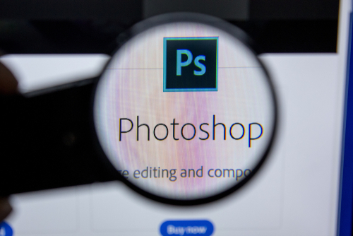 Adobe Photoshop, software logo on the official website of Adobe.