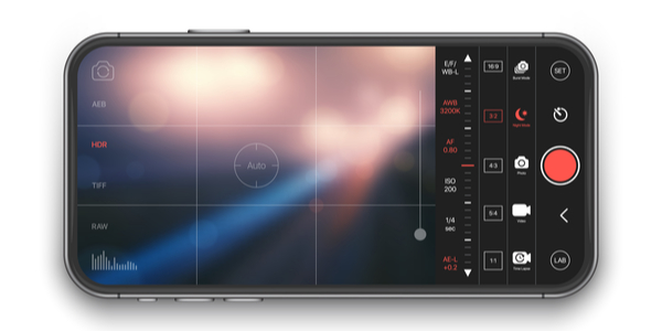 Professional Photo And Video Camera Premium Mobile App With Advanced Settings UI Concept Mock Up On Realistic Frameless Smartphone Screen Isolated on White Background.