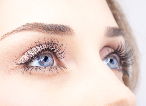 Closeup shot of woman eye with day makeup.