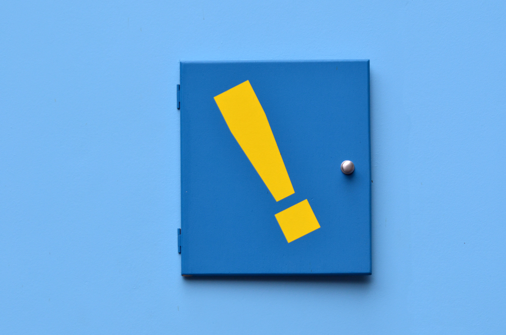 yellow exclamation mark on blue background. - iPhone photos with exclamation marks
