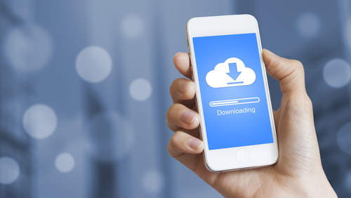 In this photo illustration the iCloud logo is displayed on a smartphone.