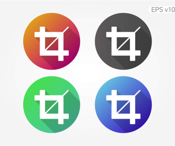 Colored icon crop symbols