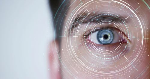 human being futuristic vision, vision and control and protection of persons, control and security in the accesses.