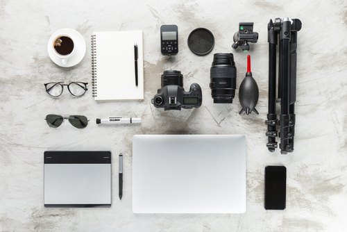 photography accessories on work table
