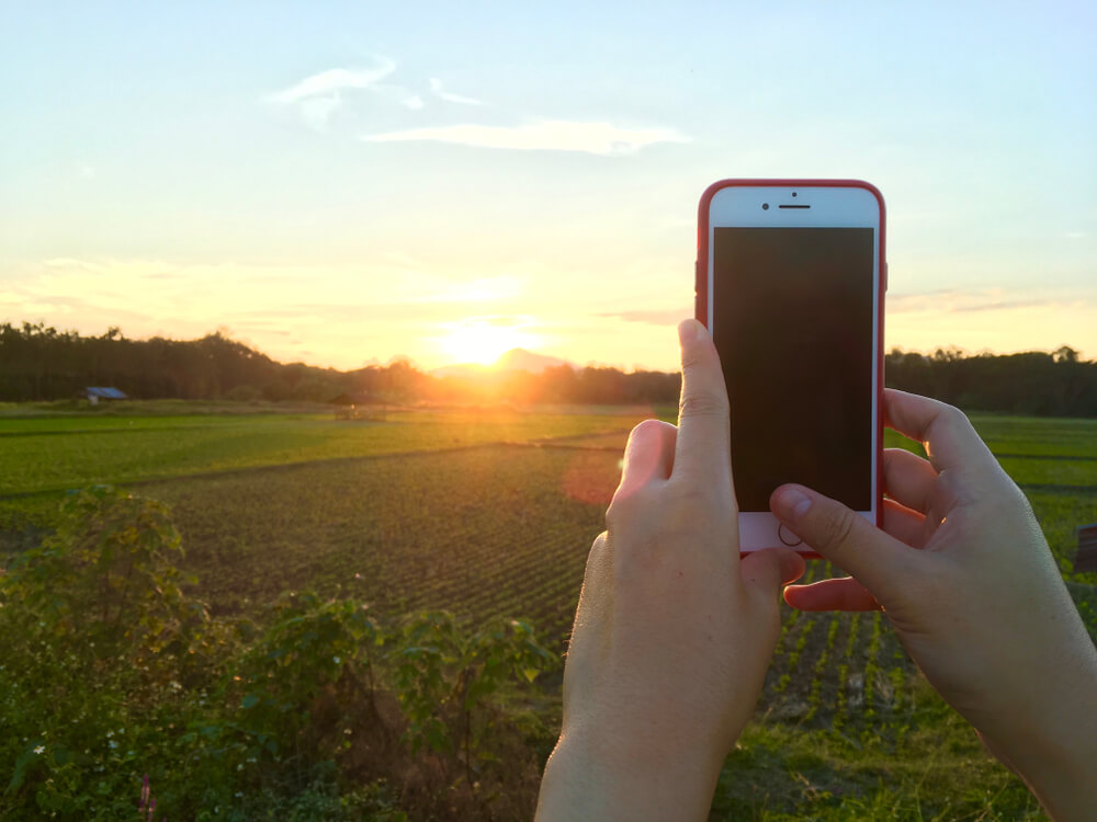 taking photo of sunrise using iPhone. - sun damage an iPhone