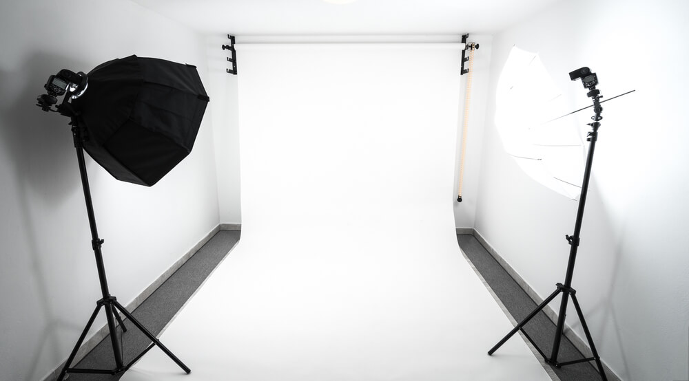 white studio and softboxes.