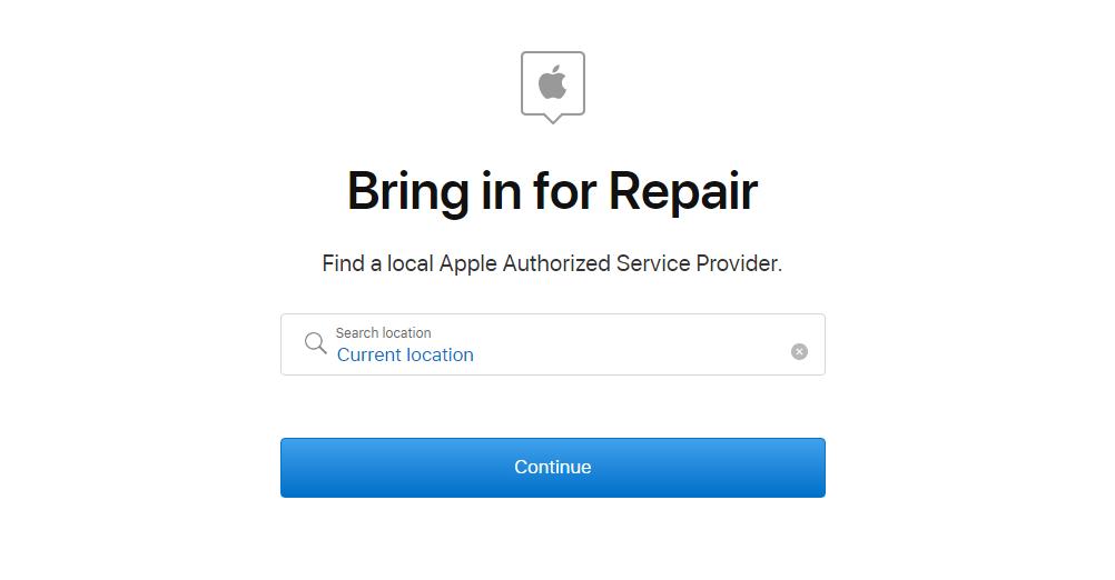 Bring in for Repair option.