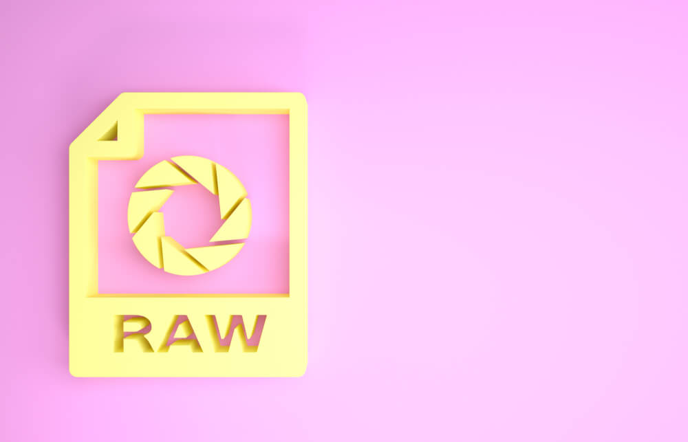 raw format logo on pink background.
