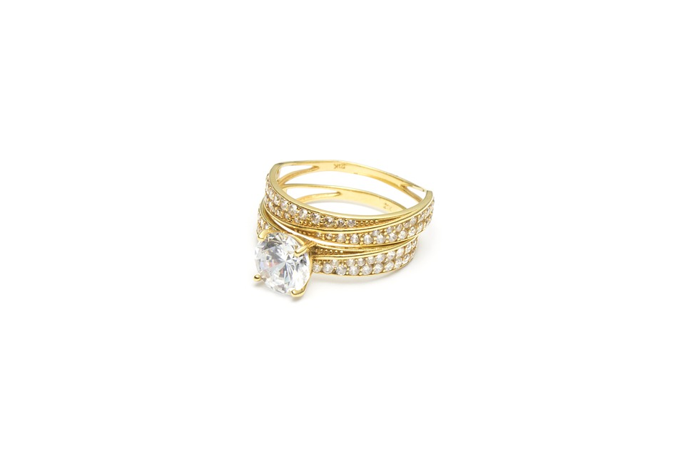 Diamond ring on a white background