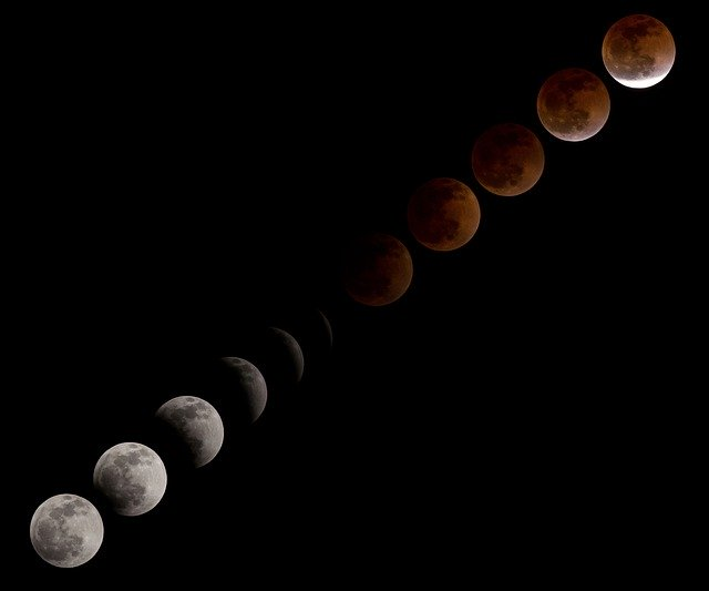 Blood moon lunar eclipse sequence.