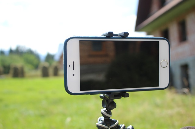 iPhone on a tripod