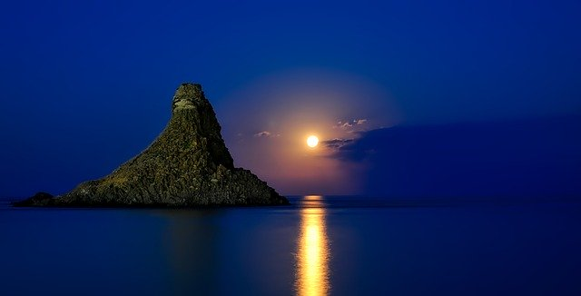 Italy Sicily reflection of a moon