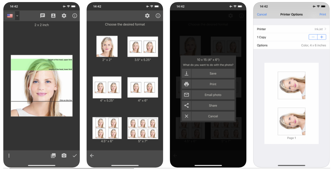 preview of the Passport Photo - ID Photo app on the iPhone.