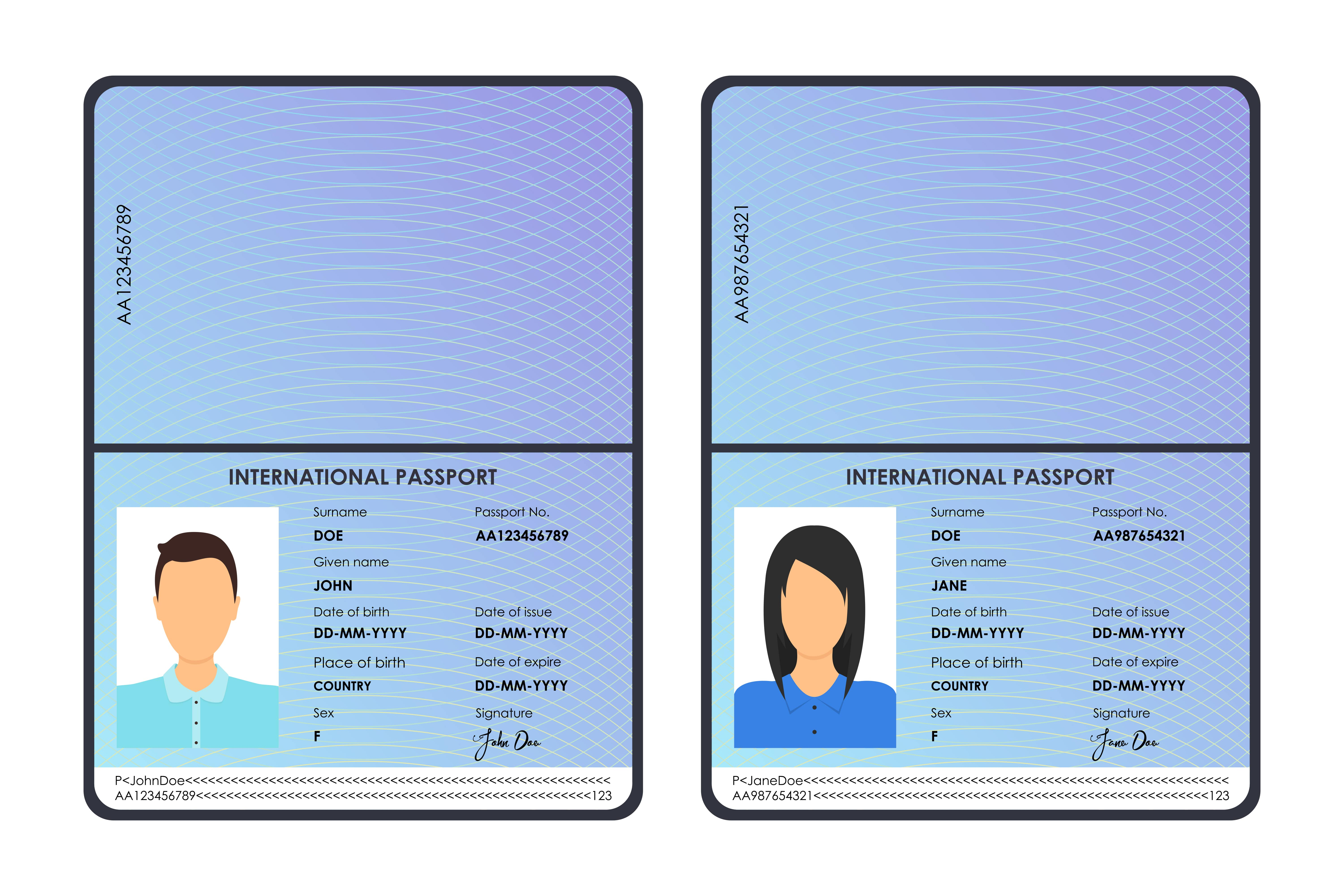 passports of a boy and a girl vector