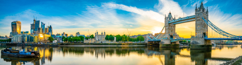 Tower Bridge and finance district panorama in London