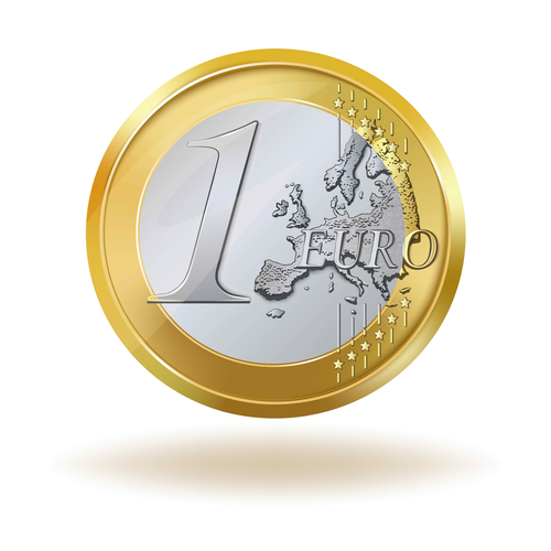 1 euro coin isolated on white background.