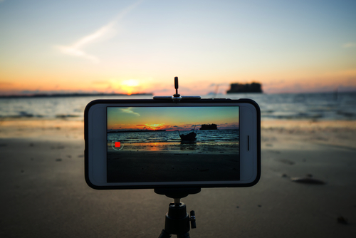 Smartphone video time lapse sunset from a smartphone set on a tripod.