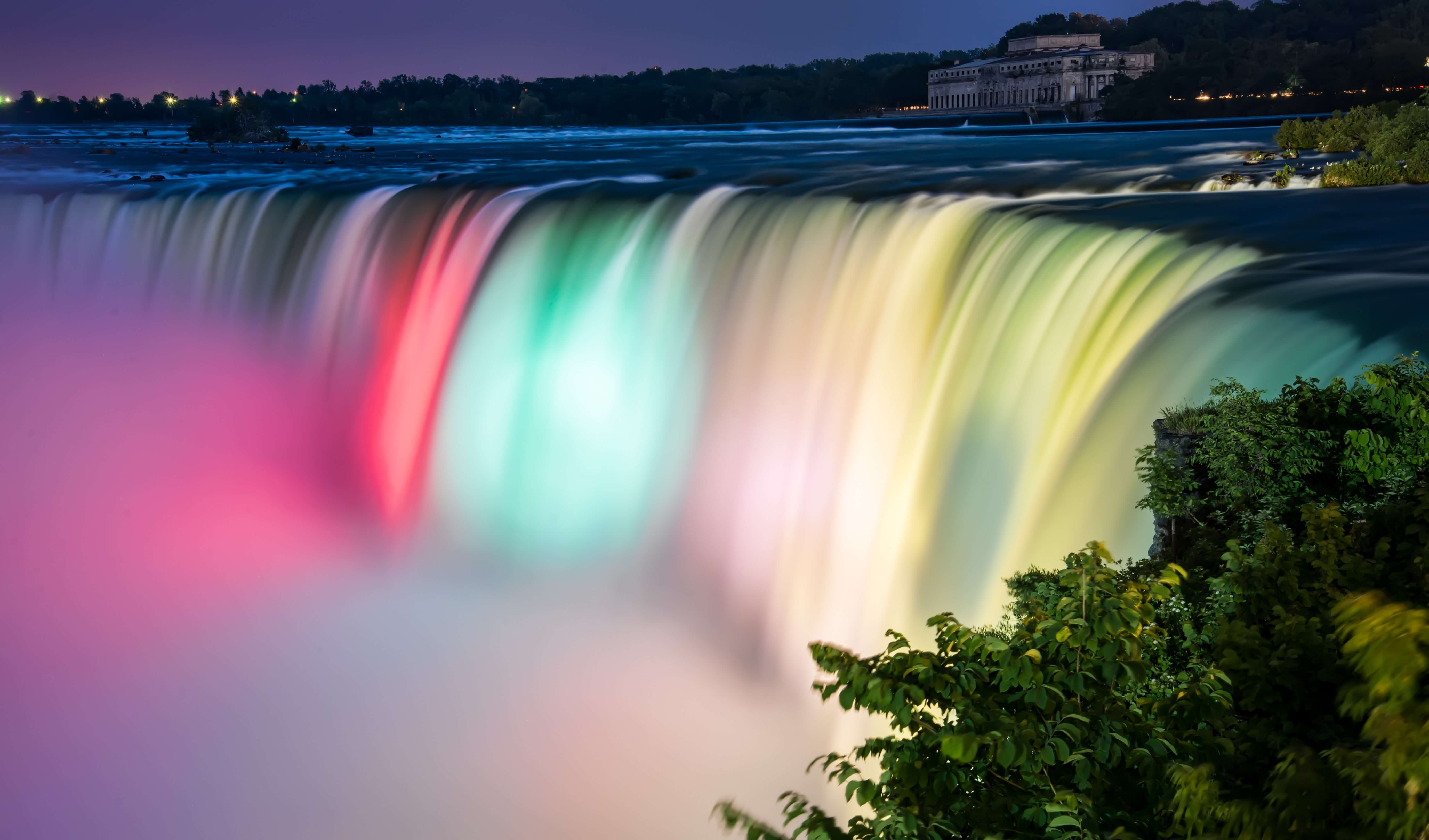 colorful waterfall at night. - moving water iPhone