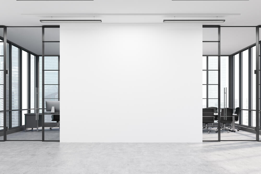 white wall at a modern office.