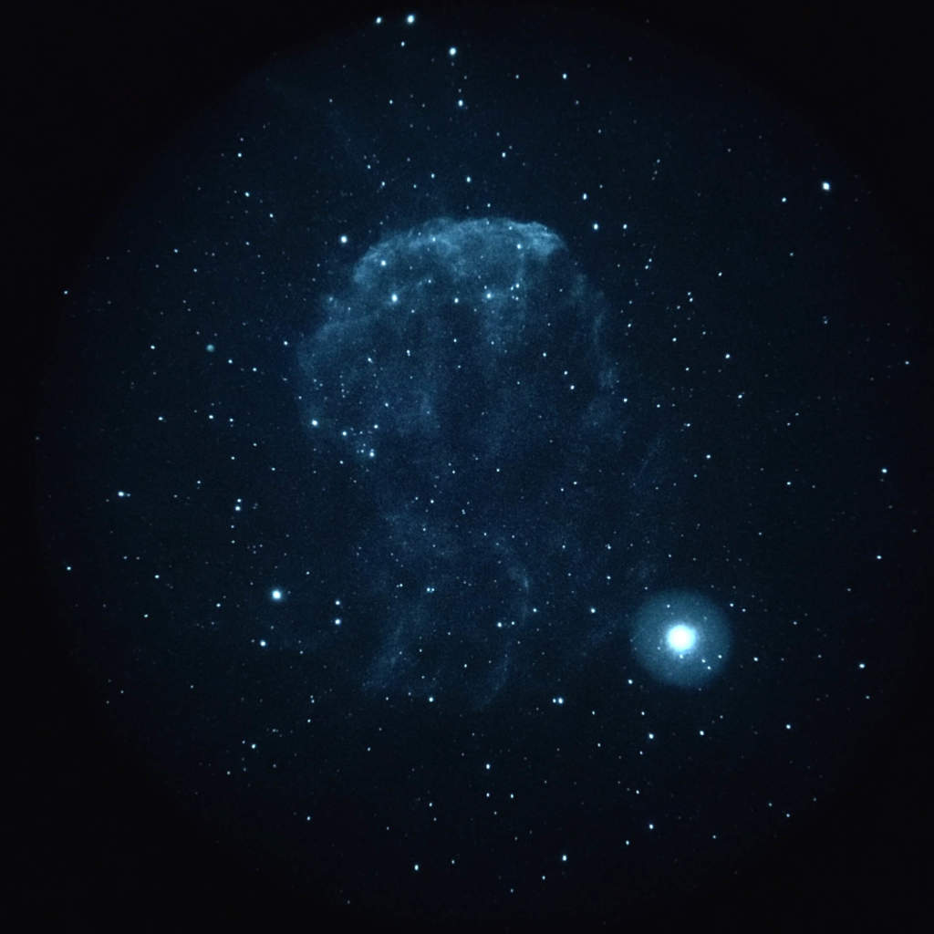 a photo of the bluish white Gamma Cygni by Ray Taylor - capture stars with iPhone