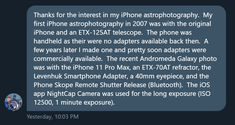 Mike Weasner's answer on Twitter about his gadgets for Astrophotography.  - capture stars with iPhone