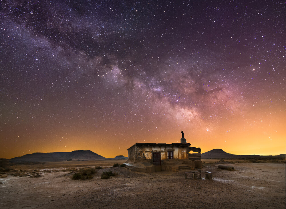 Shepherd hut at desert night near Pamplona, Spain.